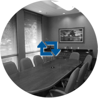 Royal Palm conference room black & white