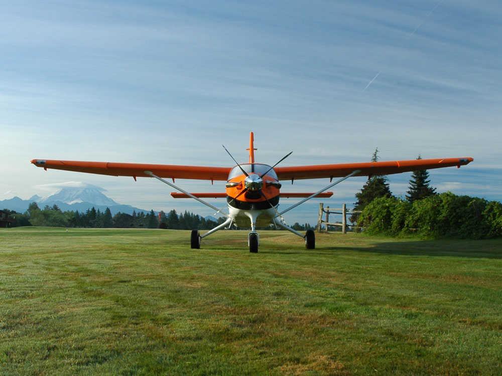 Orange Quest Kodiak on grass strip
