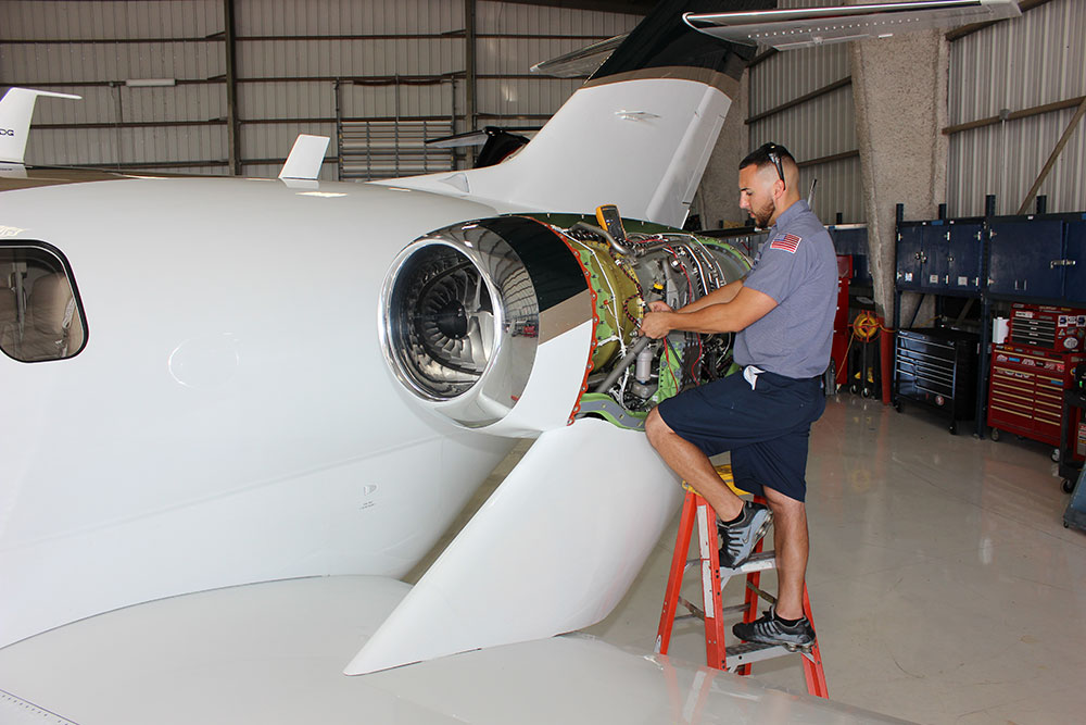technician working on HondaJet
