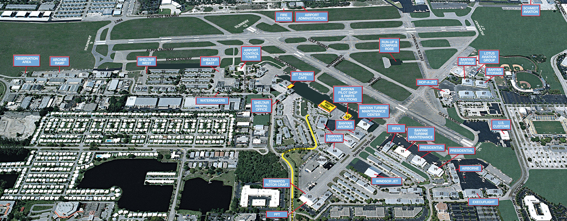Ft. Lauderdale Executive Airport map