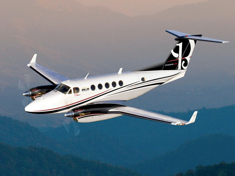 BLR Winglets King Air flying over mountains