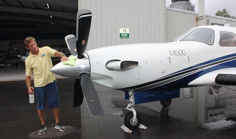 Doug Dickey detailing aircraft