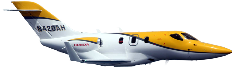 Yellow HondaJet Flying