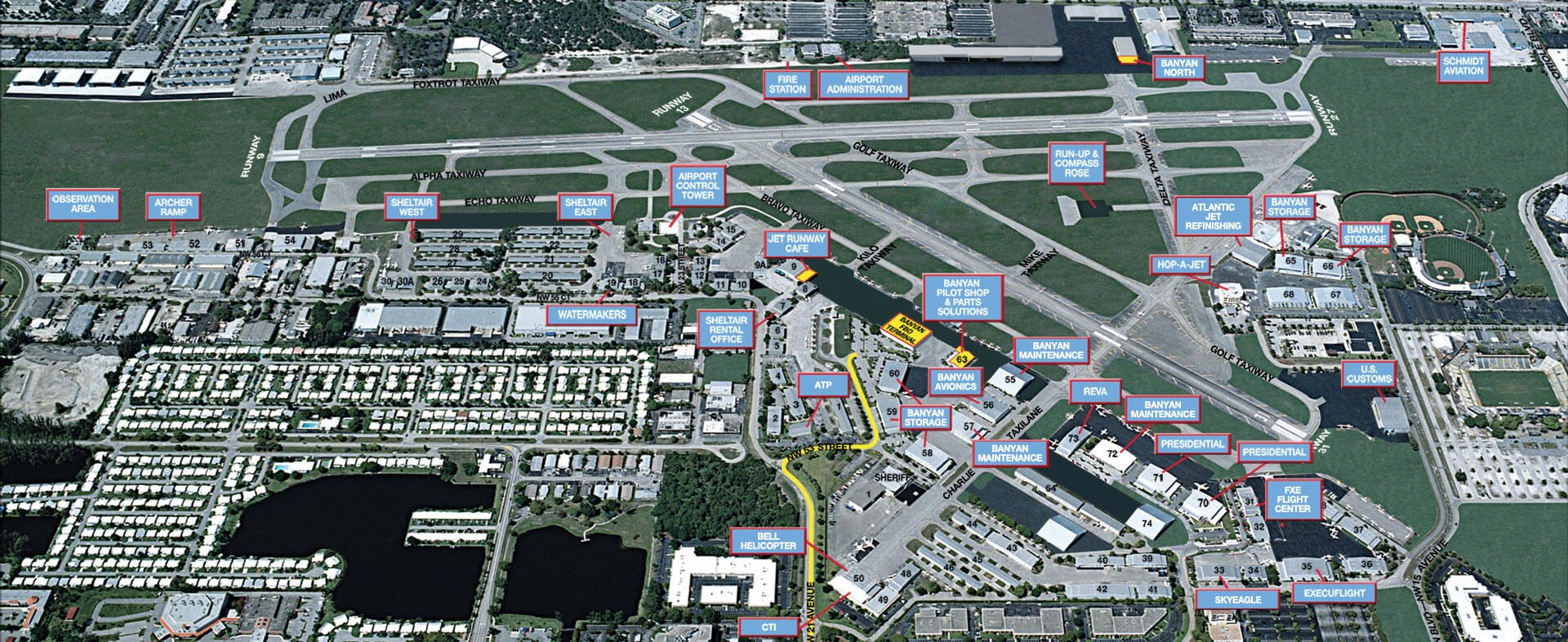 Ft. Lauderdale Executive Airport map FXE